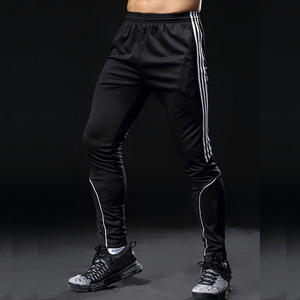 Image 2 - Спортивные штаны для мужчин, спортивные Леггинсы для фитнеса, спортзала, футбола, тонкие длинные белые штаны для бега, 2019
