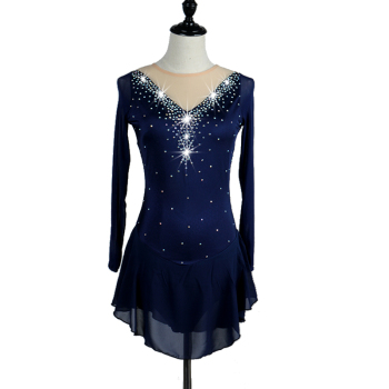 Figure Skating Dress Women girl Ice Skating Dress navy blue royal blue Gymnastics Costume custom rhinestone  B019