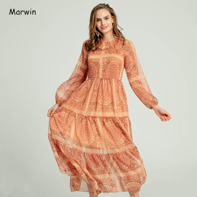 Marwin 2020 Spring Summer Beach Style Floral Empire A-Line Ankle-Length O-Neck Women Dresses High Street Holiday Female Dresses