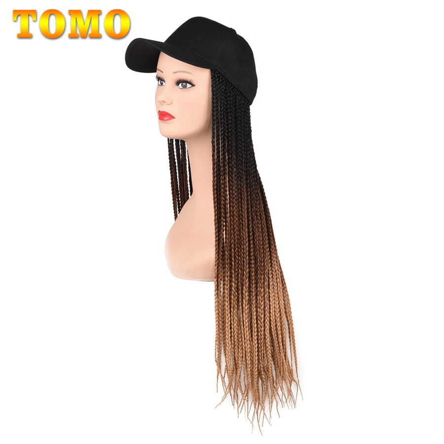 2020 New Summer Fashion Long Braided Box Braids Hair Hat Wig With For Women Female Heat Resistant Fiber Synthetic Adjustable Wig
