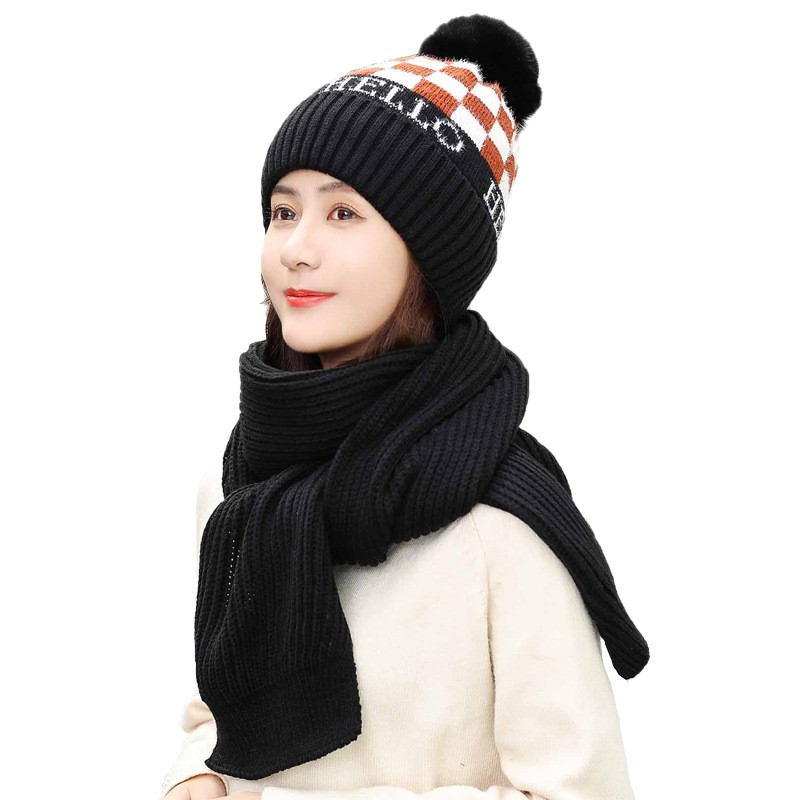 2pcs Fashion Women Winter Windproof Warm Thermal Hat Knitted Skullies Beanies Skiing Cap And Scarf Set
