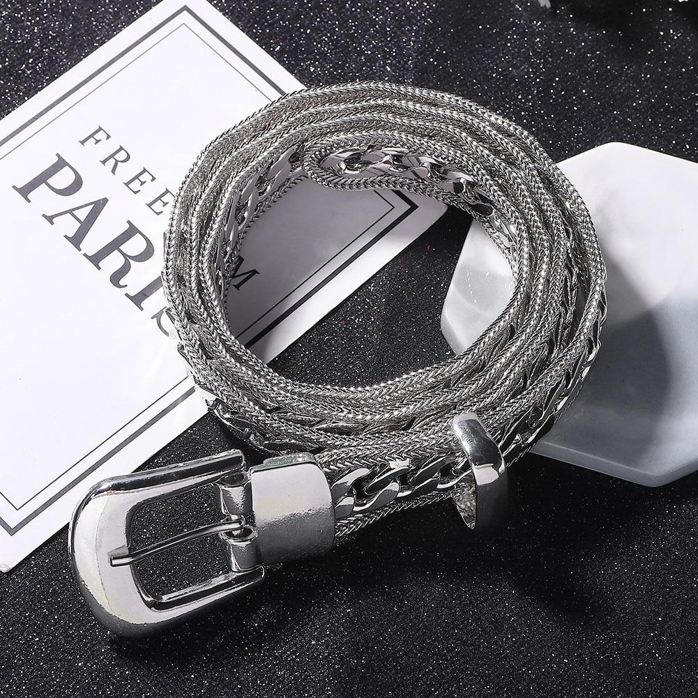New Women Fashion Silver Buckle Belt Luxury Brand Designer Chain Belts Ladies Jewelry Rhinestone Diamond Pearl Belts Waist Dress