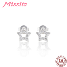 MISSITA 100% 925 Sterling Silver Star Stud Earrings for Women Simple Fashion Jewelry Hollow AAA Zircon Daily Life Gift