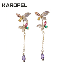 2019 New Arrive Romantic Fashion Women Colorful Cubic Zircon Asymmetry Dragonfly Long Tassel Earrings For