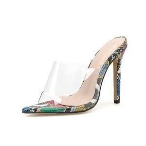 Image 2 - Kcenid sexy pvc transparente cobra impresso senhoras chinelos verão moda festa sapatos de salto alto gladiador slides sandálias