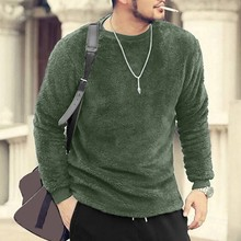 Men Autumn Winter Casual O-Neck Loose Double-Sided Plush Tops Blouses T-shirt H0820