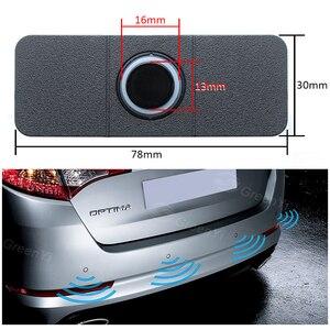 Image 2 - GreenYi רכב חניה חיישן עוזר Parktronics 4 שחור/כסף/לבן 13mm שטוח חיישנים הפוך רדאר קול זמזם מעורר קול