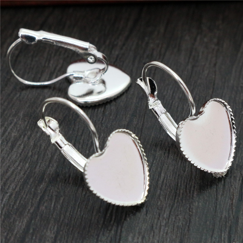 12mm 10pcs Silver Plated Heart French Lever Back Earrings Blank/Base,Fit 12mm Glass Cabochons,Buttons;Earring Bezels (L3-22)