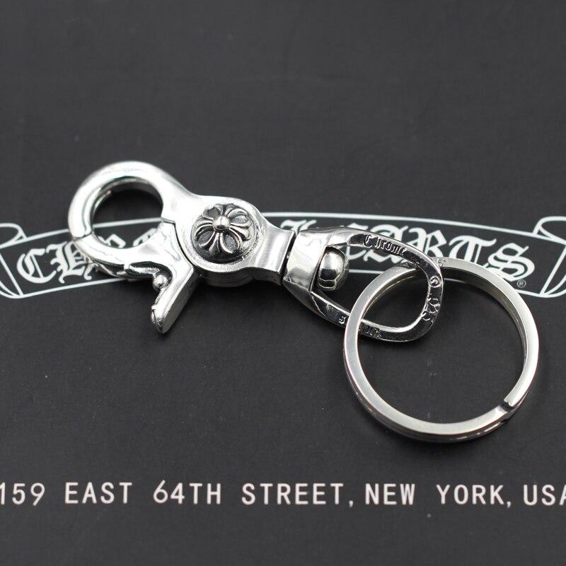 S925 sterling silber männer schlüsselbund persönlichkeit klassische punk stil hip hop dominierenden kreuz ring form senden liebhaber geschenk schmuck - 2