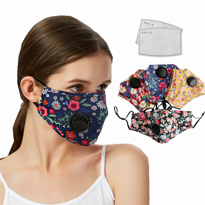 Fashion Cotton Face Mask Respirator Washable Reusable Mouth Masks With 2Pcs PM2.5 Activated Carbon Filter For Women Summer