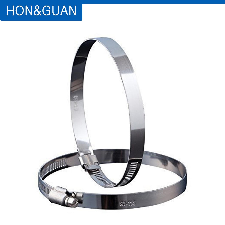 Ev Aletleri'ten Fan Parçaları'de Hon ve Guan 2 adet 8 inç paslanmaz çelik hortum klipsleri kanal kelepçeleri ayarlanabilir solucan sürücü hortum kelepçesi Inline kanal fan (200mm) title=