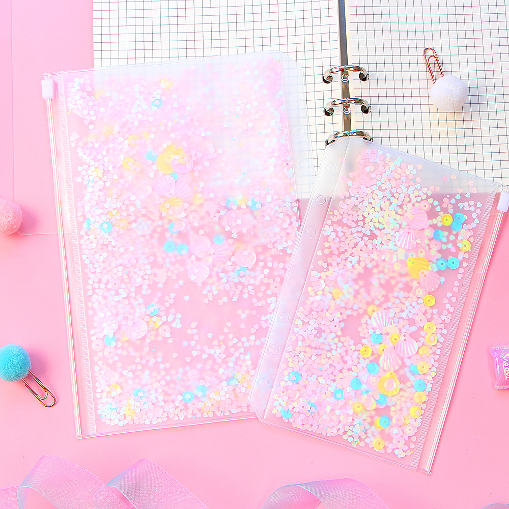 1Pcs Transparent Shining PVC 6 Hole Zipper Document Bag Storage Card Holder For A5 A6 Pouch Diary Planner Accessories Supplies