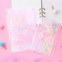 1Pcs Transparent Shining PVC 6 Hole Zipper Document Bag Storage Card Holder For A5 A6 Pouch Diary Planner Accessories Supplies transparent pvc a5 a6 file folder pink most cute loose leaf binder bag pouch diary planner storage bags kawaii supplies