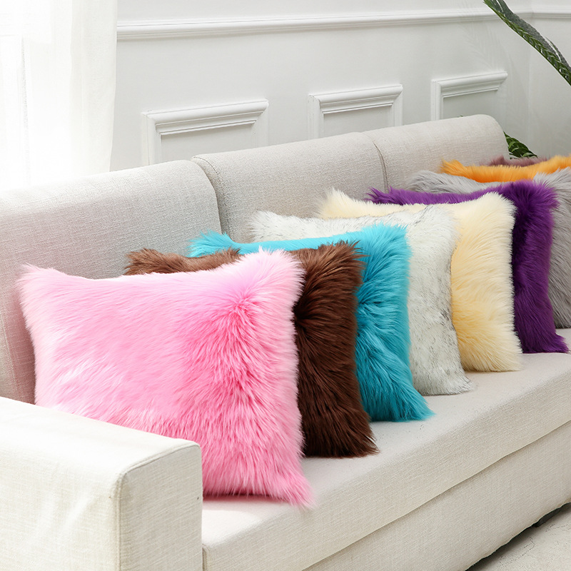 Sholisa  Fluffy Fur Pillow Cushion Cover Solid Color Cojines Pillowcase Throw Pillow Cover For Sofa 45*45cm