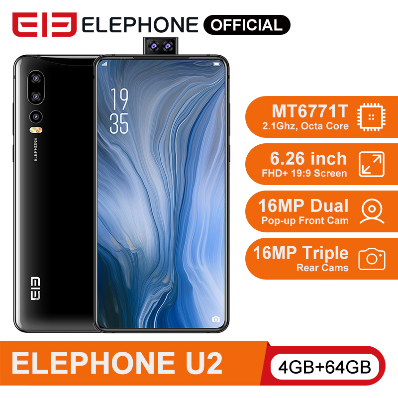 "ELEPHONE U2 MT6771T Octa Core Mobile Phone 4G/6G 64G/128G 16MP Pop-up Cam 6.26"" FHD+ Screen Face ID Android 9.0 Smartphone"