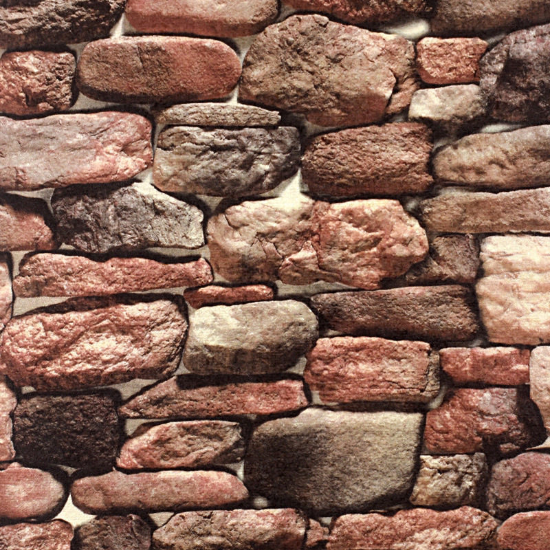 Stone Wallpaper Model Retro Nostalgic Imitating Stone Block Rock 3D Restaurant Hotel Art Stone Wall Wallpaper