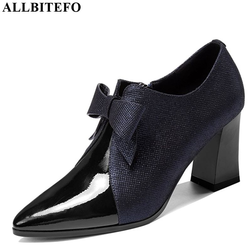 ALLBITEFO Natural Genuine Leather High Heel Shoes Spring Autumn Butterfly-knot Women Heels Office Ladies Shoes Pure Color