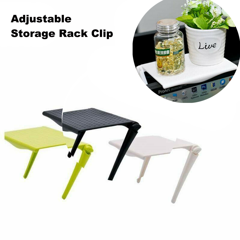 Adjustable Screen Shelf Office Storage Rack Clip Computer Table Desk Accessories Organizer For Table Things Office Organizer