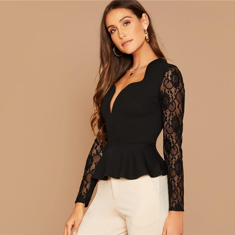 SHEIN Black Notch Neck Sheer Lace Sleeve Peplum Top Women Autumn Solid Elegant Office Ladies Slim Fit Ruffle Blouses