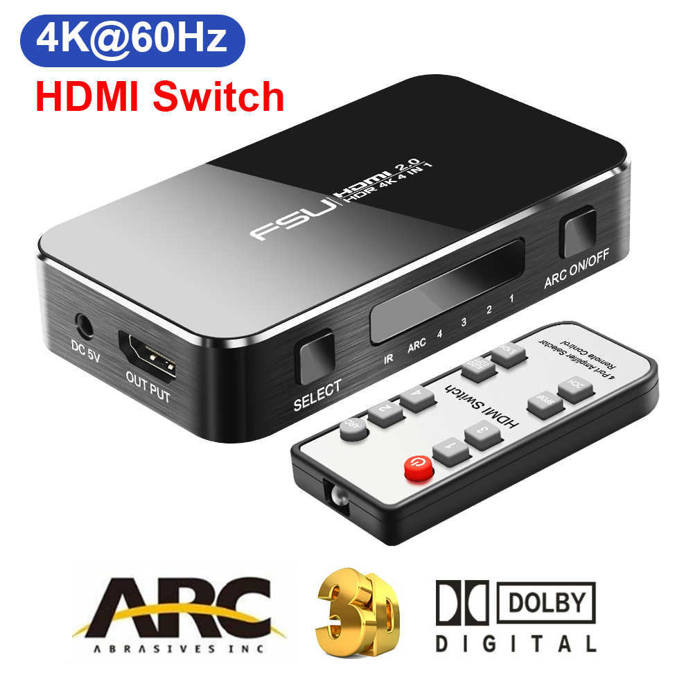 Hdmi switch 4 k 60 hz hdr hdmi 2.0 divisor 4 porto hdmi switcher dolby som 3.5mm jack arco ir controle para ps3 ps4 hdtv projetor
