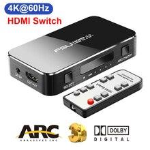 Interruptor hdmi 2.0, interruptor hdmi 4k 60hz hdr hdmi 3.5 controle ir para projetor ps3 ps4 hdtv