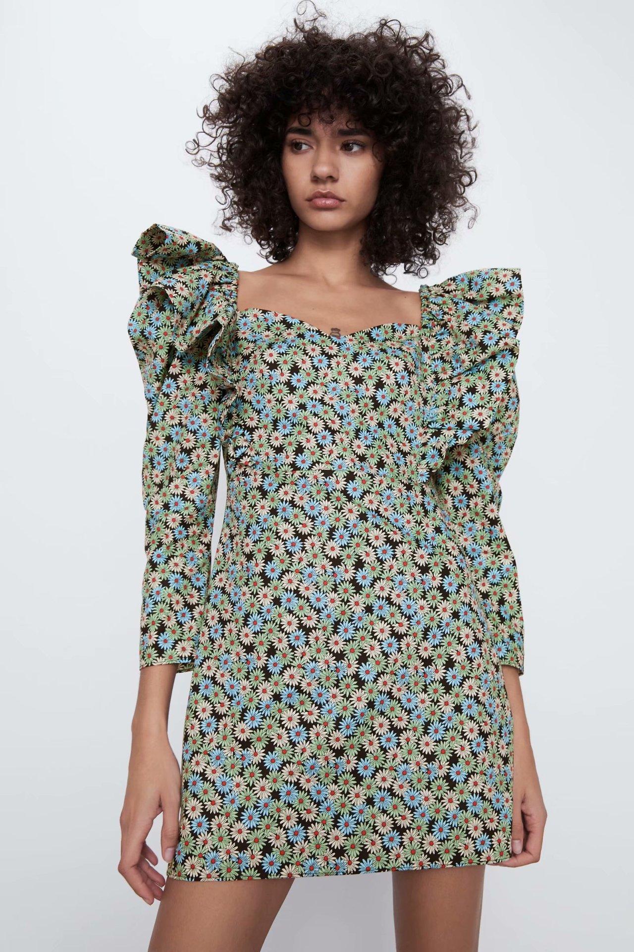 2020 New Spring And Summer New Style European Daisy Printed Poplin Dress Zaraing Vadiming Sheining Female Address