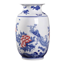 Jingdezhen ceramics new Chinese blue and white thin tire hand painted peacock vase flower ware porch ornament