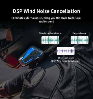 Lexin 1PC 1500M 4 Ways Multi-function Intercom Motorcycle Bluetooth Helmet Waterproof Group talk Headset with FM function