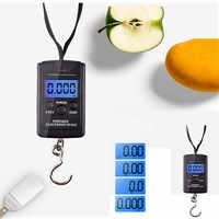 40 Kg X 10g Mini báscula Digital, equipaje de pesca, viaje, balanza de gancho electrónica colgante, balanza de cocina, herramienta de peso # LR1