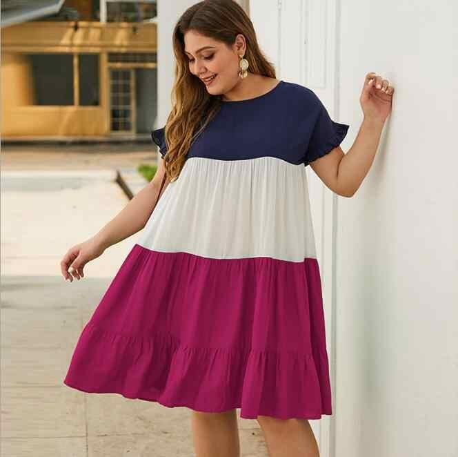 여자 섹시 크루 넥 레이스 짧은 소매 여름 드레스 숙 녀 느슨한 캐주얼 드레스 여성 솔리드 컬러 드레스 플러스 크기 CL112