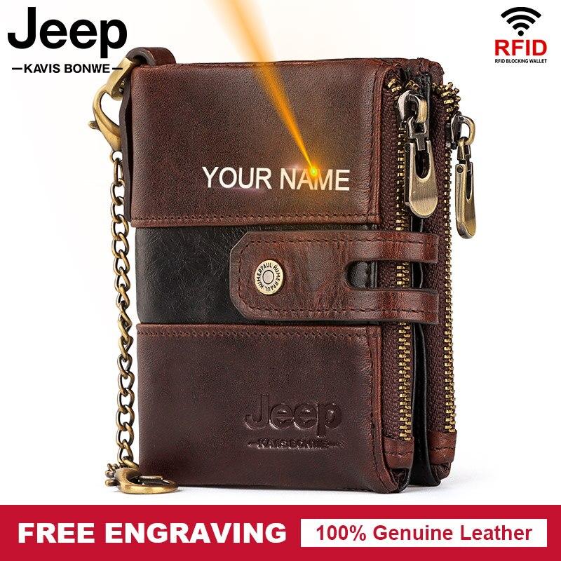 NEW Splice 100% Genuine Leather Men Wallet Coin Pouch Small Mini Card Holder Double Zipper Portomonee Male Slim Walet Pocket