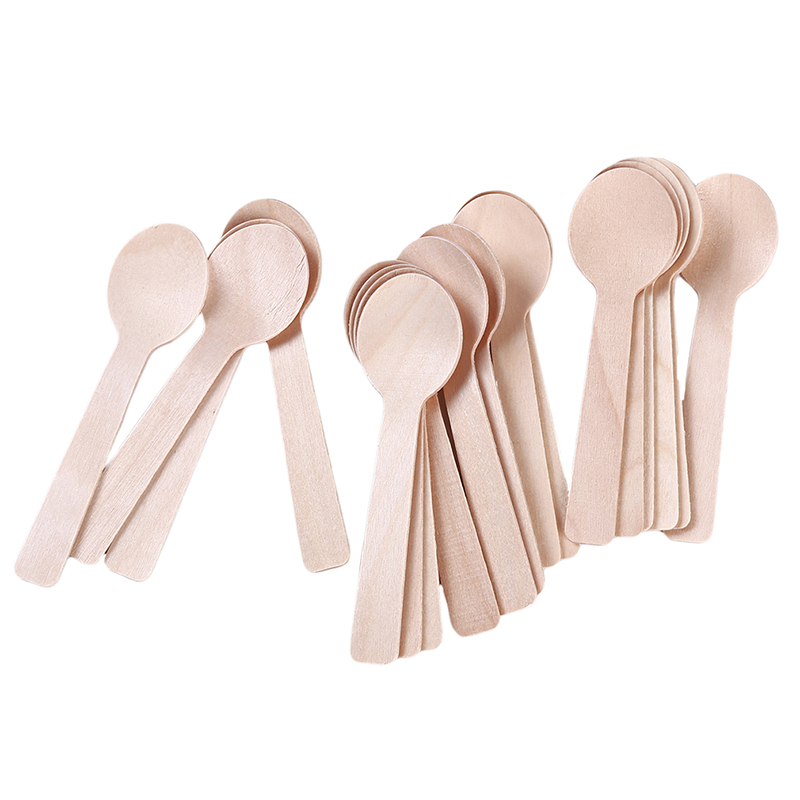 100Pcs/Pack Disposable Wooden Spoon Ice Cream Scoop Coffee Honey Spoon Teaspoon Tableware Mini Cutlery Set Kitchen Accessories