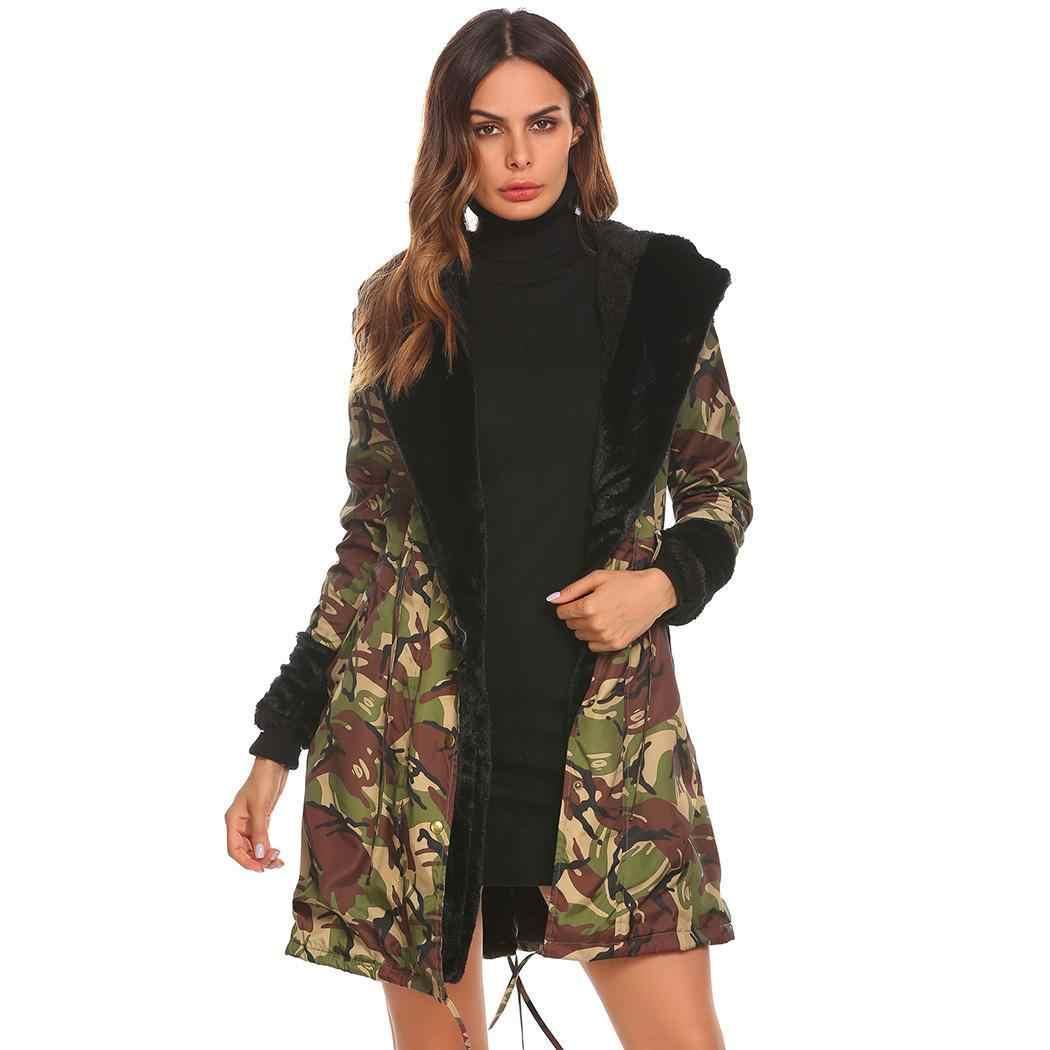 ผู้หญิงลำลองลวงตาแขนยาวขนแกะดอกไม้เสื้อ Slim เอว Parka ฤดูใบไม้ผลิ,ฤดูใบไม้ร่วง,ฤดูหนาว SOLID