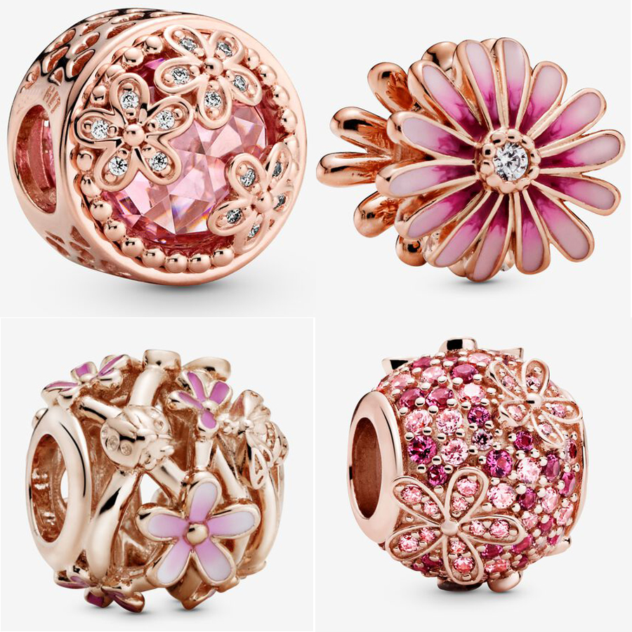 2020 NEW 925 Sterling Silver Pink Daisy Flower Charm Fit pandora Bracelet Rose Gold Charm Springtime New Style Bead DIY Jewelry