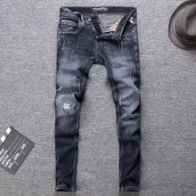 купить Italian Style Fashion Men Jeans High Quality Black Blue Slim Fit Ripped Jeans Classical Denim Pants Vintage Designer Jeans Men дешево