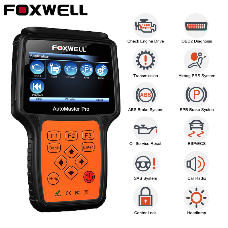 FOXWELL NT624 PRO OBD2 Scanner Engine Airbag SRS SAS EPB Crash Data Oil Reset Full System obd2 Diagnostic Scanner Tool for Car on