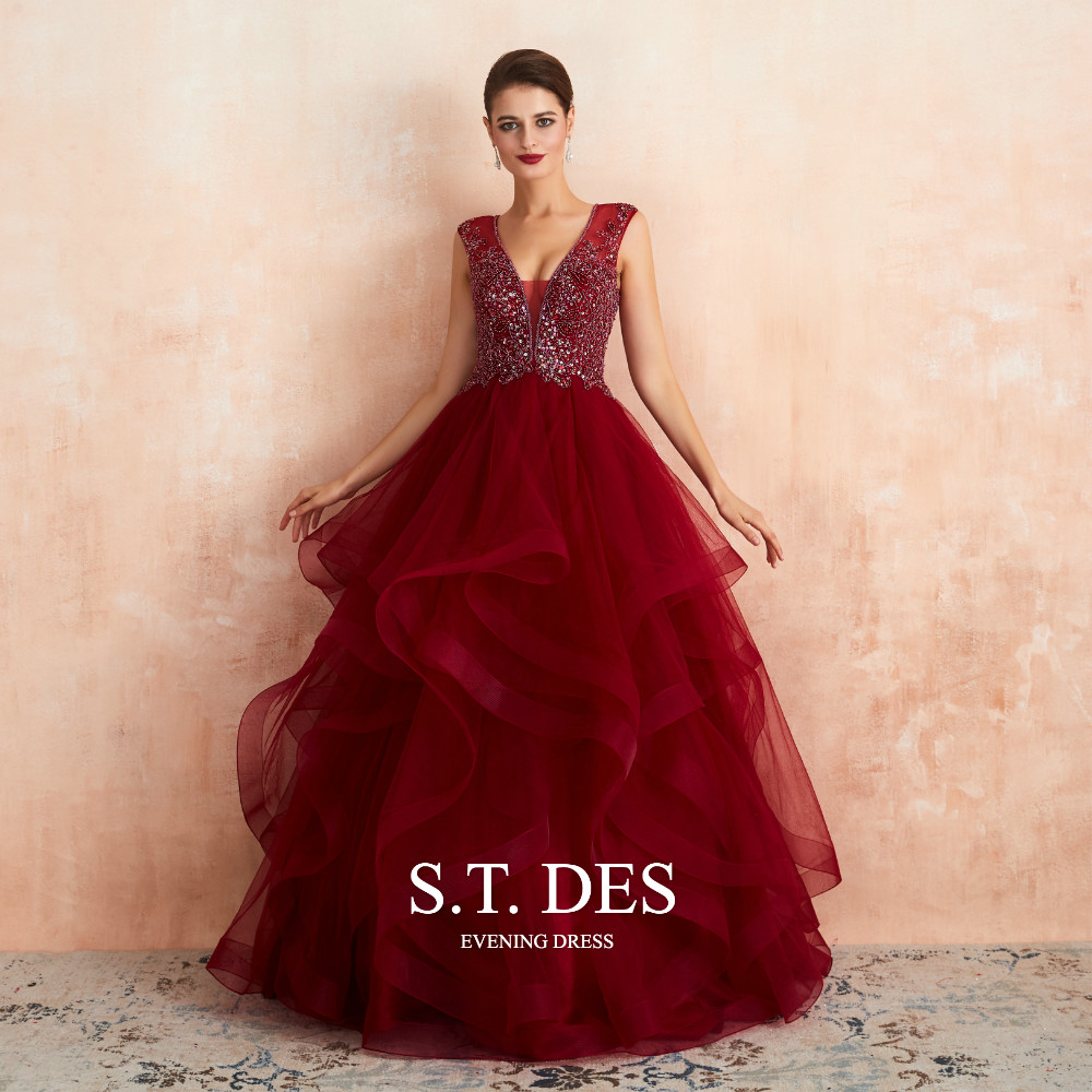2020 S.T.DES Gorgeous Burgundy V-Neck Sequins Beaded Wave Tulle Ball Gown Illusion Floor-Length Evening Dress For Woman