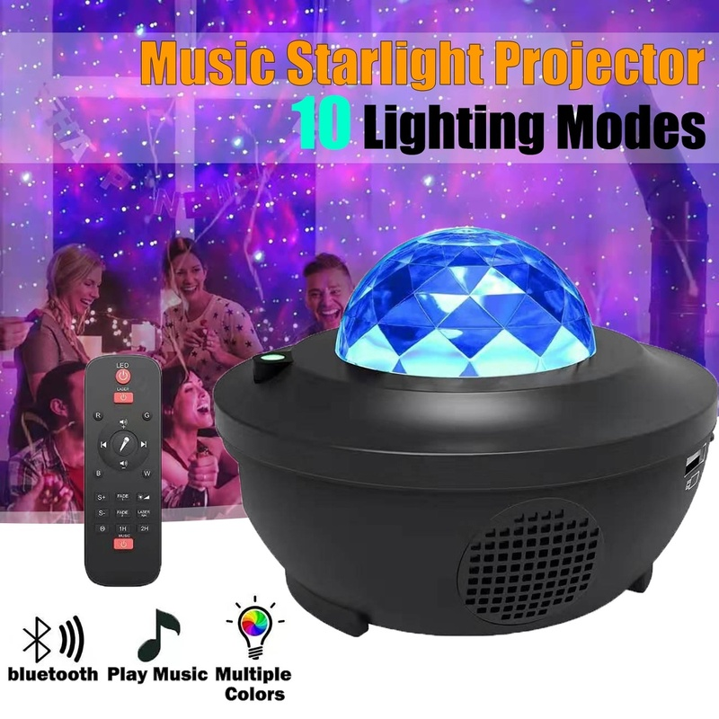 LED Music Starlight Projector USB Cable Bluetooth Remote Control Music Player Laser Light Starry Romantic Projection Night Lamp