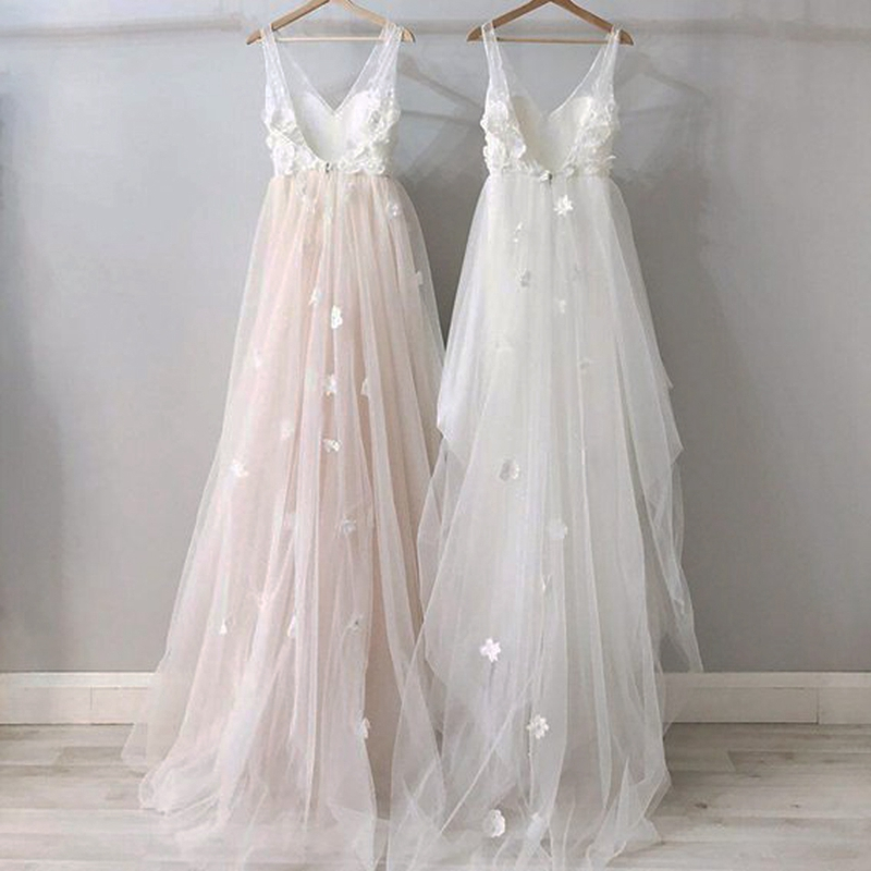 Lakshmigown Floral Boho Wedding Dress Pink 2019 Elegant White Tulle Bridal Dress Lace Sexy Princess Wedding Gown Vestido Novia