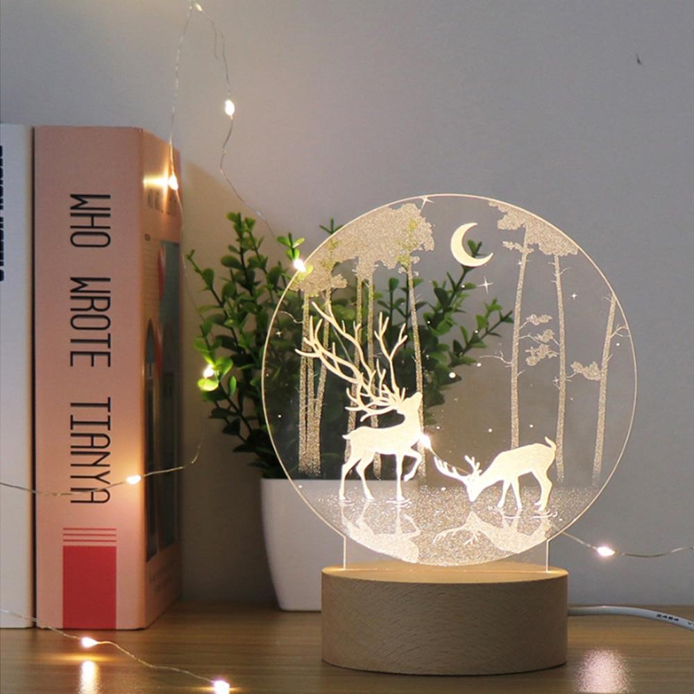 New Starry Sky Deer 3D Light Acrylic LED Light Night Light USB Small Table Lamp Festival Christmas Birthday Gift Decorative Lamp