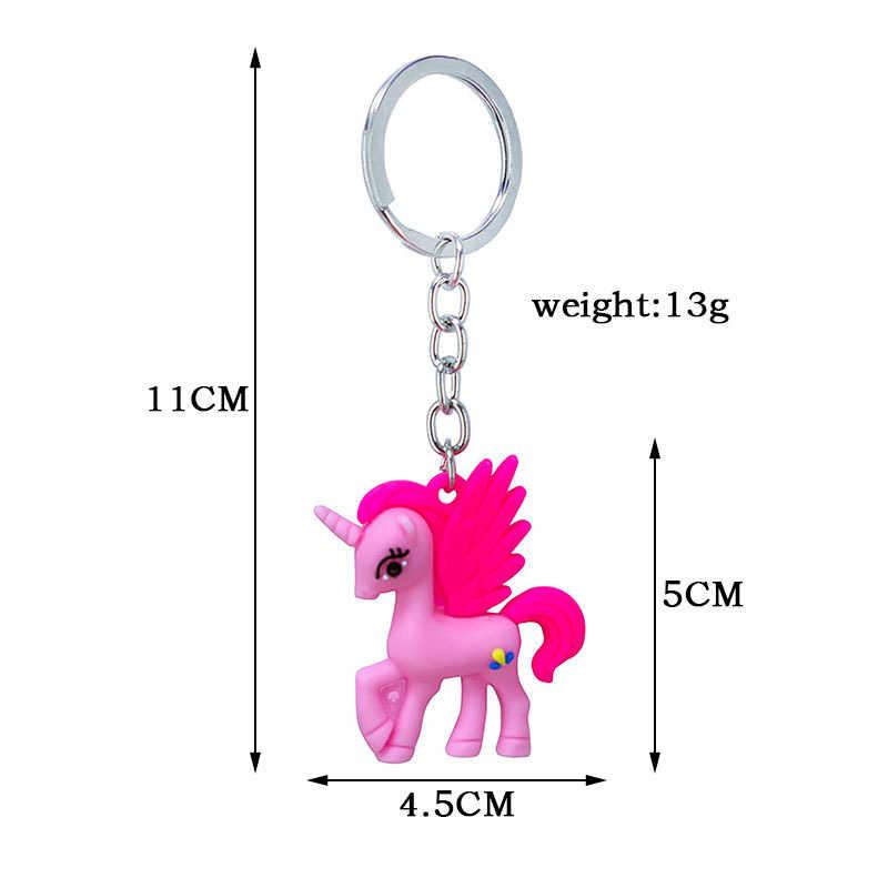 New Arrival Cute Cartoon Pegasus jednorożec breloki dla kobiet domu brelok kluczyk do samochodu torba portfel wisiorek prezenty biżuteria