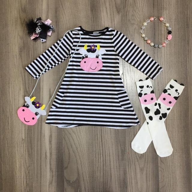 Trajes de Primavera/invierno para niñas pequeñas, vestido de algodón a rayas negras de vaca, ropa de seda de leche, hasta la rodilla, calcetines combinados, collar con lazo y monedero