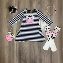 spring/winter baby girls outfits dress black stripe cow cotton milk silk clothes knee length match socks bow necklace and purse