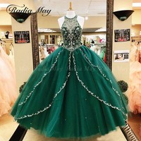 Vestidos de 15 anos Emerald Green Tulle Ball Gown Quinceanera Dresses 2020 Sparkly Crystal Beaded Sweet 16 Birthday Party Dress