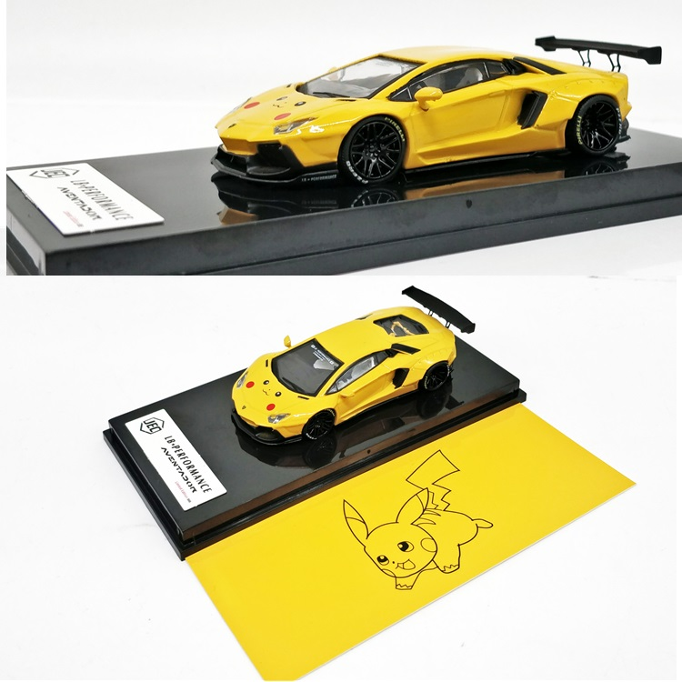 JEC 1:64 LB Works Liberty Walk LB Performance Aventador Aventador LB700 Picachu Yellow Diecast Model Car