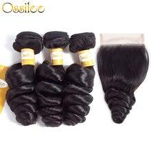 Ossilee – mèches malaisiennes Remy, cheveux naturels, Loose Wave, avec Closure, lots de 3/4
