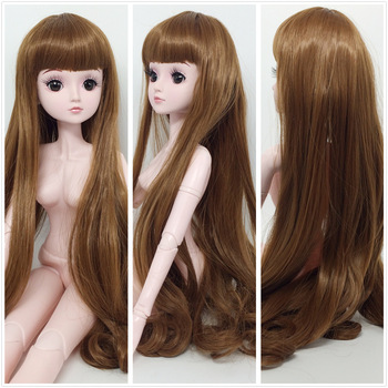 60cm 1/3 BJD Doll Wig Dress Up Female Nude 3D Eyelashes Removable Joint Bald Dolls Hair Detachable Wig Body Girl Toy Gift new 21 movable joint 60cm bjd doll 3d eyes long wig detachable hair cover 1 3 fashion dress up body doll girl toy christmas gift