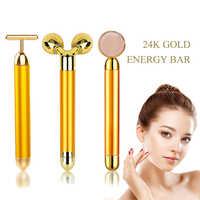 24k Gold Energy Beauty Bar Набор 3d вибромассажер для лица массажер для лица антивозрастной подтягивающий упругой валик уменьшает двойной подбородок