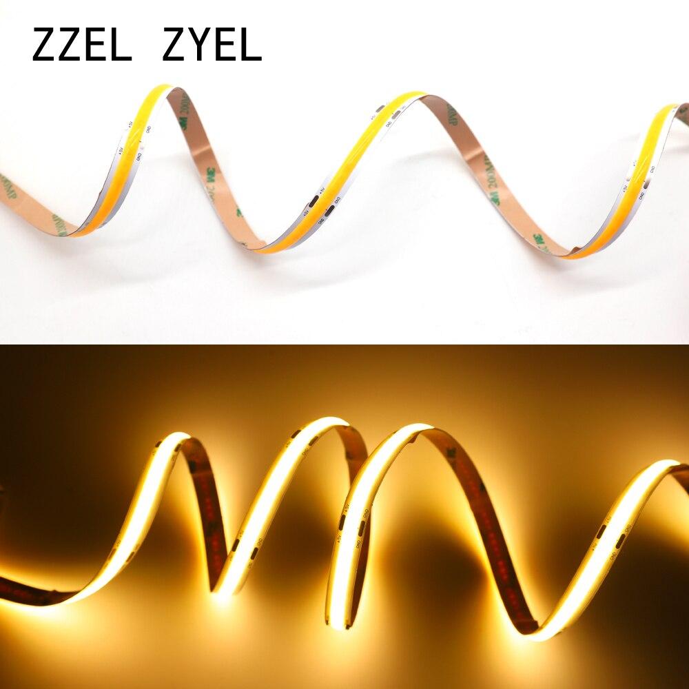 ZZEL ZYEL High Density Flexible Cob Led Strip Light 12watt/M DC12V 24V RGB UV 395 White/Warm White/Yellow/Red/Blue/Green 0.5m-5M
