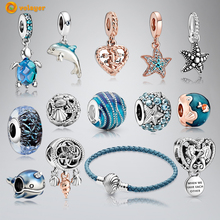Volayer 925 Sterling Silver Beads Sea Turtle Starfish Murano Glass Ocean Charms fit Original European Bracelets Women Jewelry